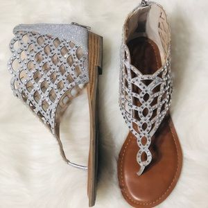 Zigi Soho Silver Rhinestones sandals size 8